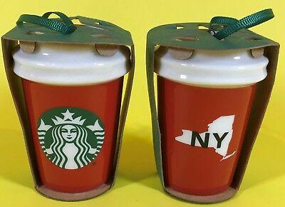 STARBUCKS CHRISTMAS ORNAMENT NY NEW YORK MINI CERAMIC COFFEE CUP MERMAID LOGO