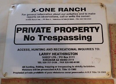"Vintage X-ONE Ranch sign ""NO TRESPASSING"" collectible Arizona cowboy memorabilia"