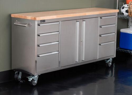 "TRINITY |TLS-7204| 72"" Stainless Steel Rolling Workbench"