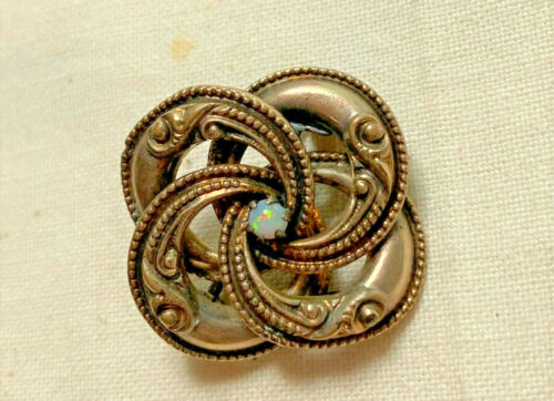 Antique Victorian Twisted Lovers Knot Natural OPAL Pin Brooch LoVeLy