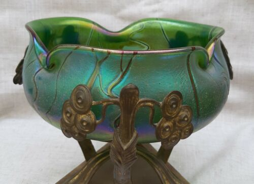 Austrian Gilded Cranberry Glass and Bronze-mounted Centerpiece 1895,likely Loetz