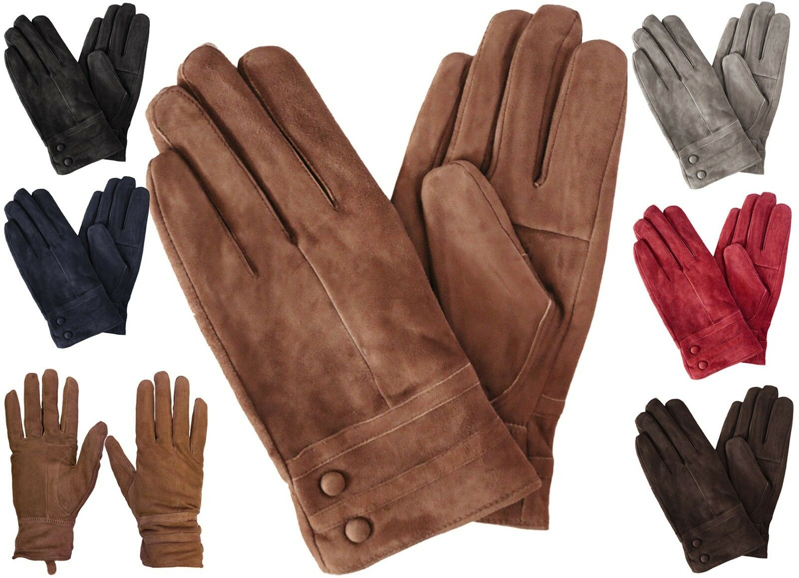 Womens Classic Suede Leather Winter Gloves Clothing, Shoes & Accessories
