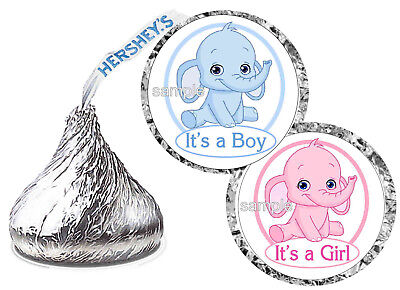 BLUE ELEPHANT OR PINK ELEPHANT BABY SHOWER FAVORS HERSHEY KISS KISSES LABELS - Blue Baby Elephant