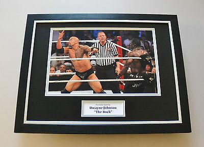 Dwayne Johnson Signed Framed 16x12 Photo The Rock Autograph Display Memorabilia