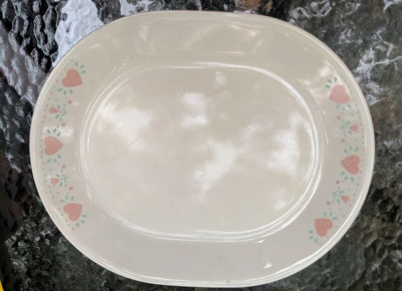 CORELLE Corning FOREVER YOURS Oval Serving Platter Peach Hearts. EUC