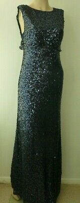 No.1 Jenny Packham Navy Sequin Maxi Party Dress size 8 new with tags
