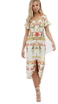 Hope & Ivy, UK 8, Floral button Front Midi Dress - Cream Floral. RRP £70