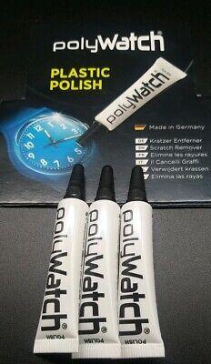 3 x Genuine POLYWATCH Repair Polish-Acrylic Plastic Watch Crystal Glass Hesalite