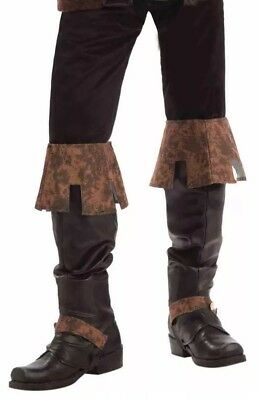 Renaissance Fair Deluxe Boot Tops Brown Medieval Boot Covers NEW In Package - Brown Boot Covers