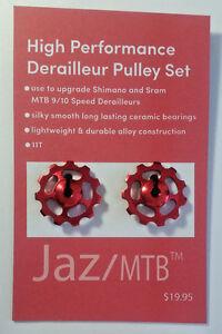 Red Derailleur Pulley Set Upgrade for Shimano & Sram 9/10 Speed Derailleurs