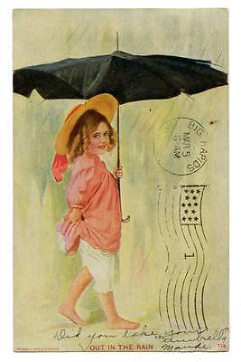 "vintage postcard cute girl bloomers umbrella hat ""Out in the Rain"" Mi.Postmark"