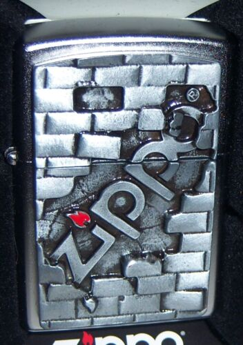 """ZIPPO """"heavy pewter brick wall with zippo in center new this year"""