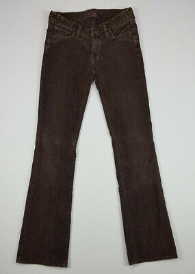Women's 7 For All Mankind Brown Corduroy Spiked Flared Low Rise Jeans Pants 28 7 For All Mankind Corduroys
