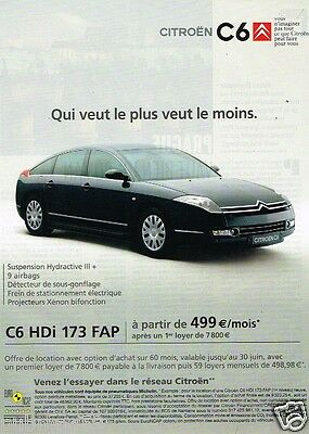 publicit advertising 2007 citroen c6 hdi 173 fap ebay. Black Bedroom Furniture Sets. Home Design Ideas