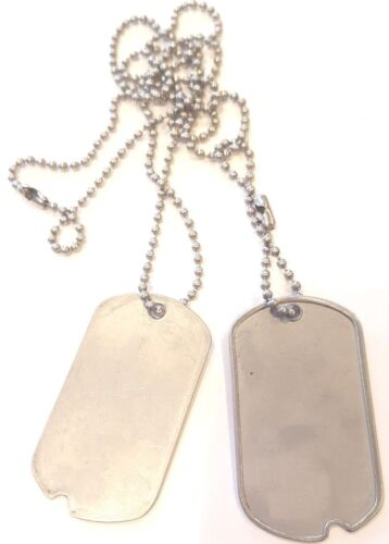 """BLANK DOG TAGS Vintage Genuine Military Issue """"WITH NOTCH MILITARY DOG TAGS"""