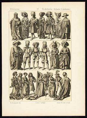 Antique Print-NETHERLANDS-HOLLAND-15th CENTURY-COSTUME-Pl. 57-Hottenroth-1884