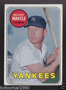 1969 TOPPS WHITE LETTER MICKEY MANTLE NEW YORK YANKEES CARD #500 CENTERED VG-EX