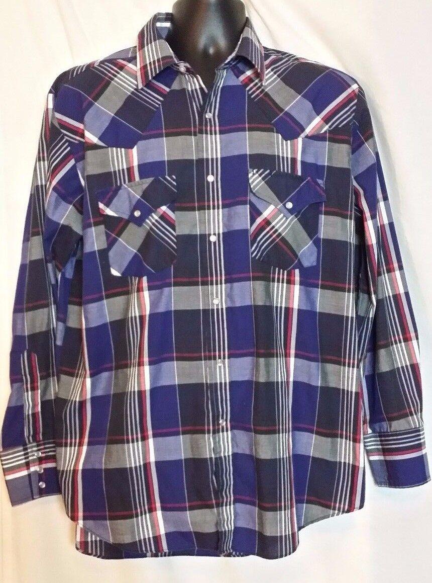 ely plains vintage pearl button multi color plaid cotton western shirt size l