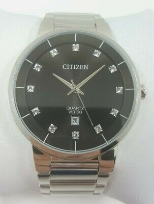 Citizen Quartz Crystal Accent Black Dial Stainless Steel Mens Watch G111-S112711