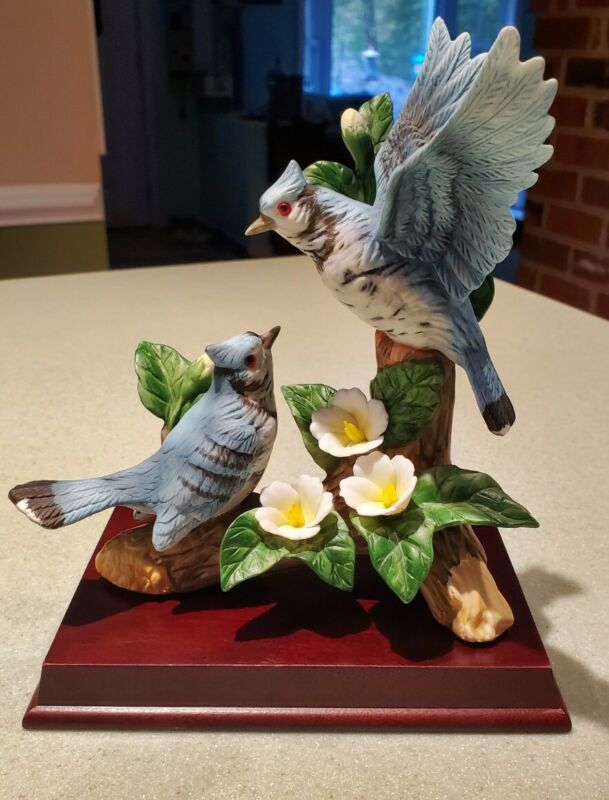 Vintage Westminster Hand Painted Porcelain Bisque Bluejays - Excellent Condition