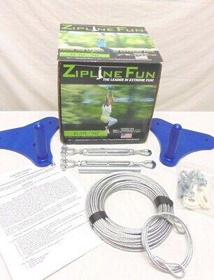 Spring Swings ZIPLINE Super Z Fun Ride Blue 90' Feet Ages 8+ 250 lbs Open Box](Zipline Fun)