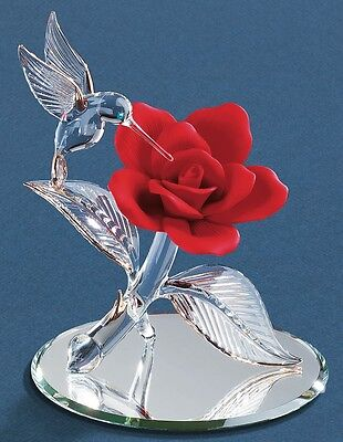 Glass Baron ~ Hummingbird w/ Red Rose ~ Large ~ New in Box