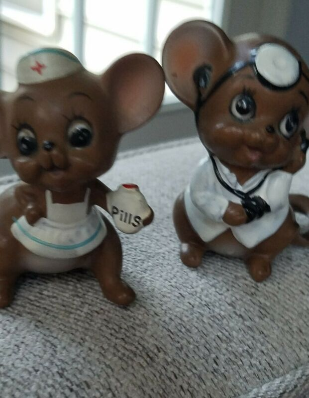 2 Joseph Originals Doctor Nurse Figurines with Labels Pills Big Eye Vintage