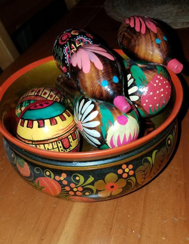 Vintage Russian Folk Art Wooden Bird Whistles plus Wooden Hand Painted Eggs+Bowl