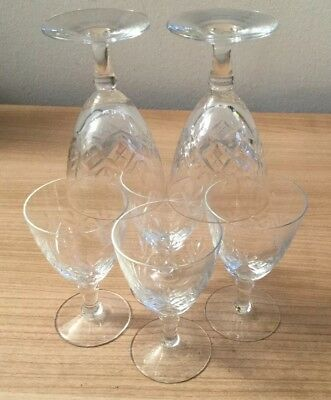 Set Of 6 Beautiful Vintage Sherry Port Liquor Wine Crystal Cut Glasses