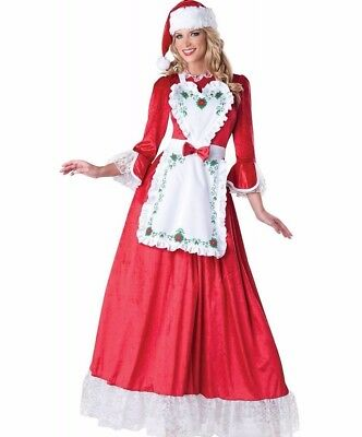 Mrs Claus Costume Deluxe Dress Miss Santa Clause Victorian Christmas S M L XL (Miss Clause Costume)