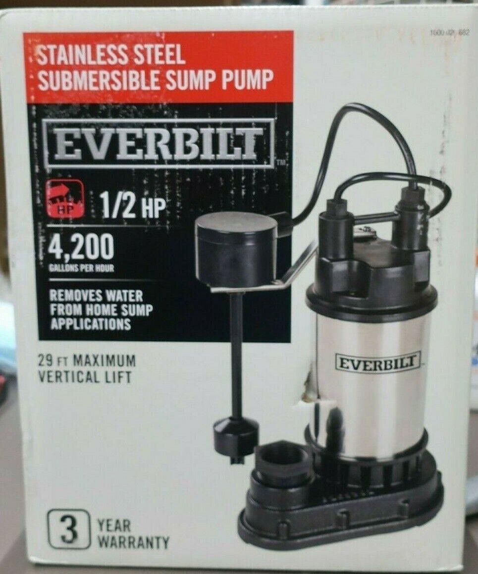Everbilt 1/2 HP Submersible Stainless Steel Sump Pump 4200 G