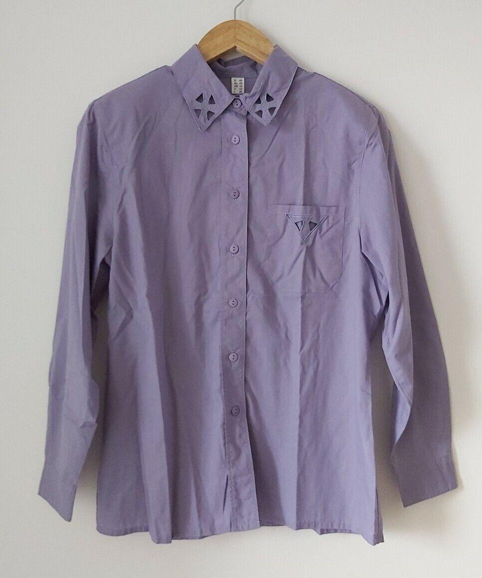 TRUE VINTAGE Bluse S M 36 38 40 lila 90er Lochstickerei weit lang oversized Hemd