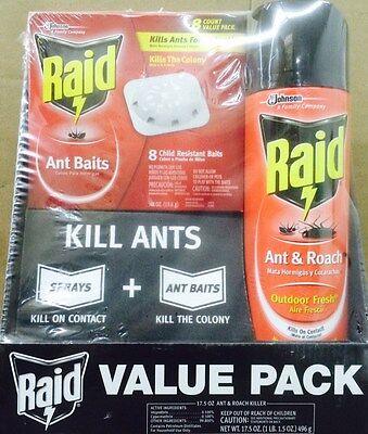 (RAID Ant Baits / Ant & Roach Spray VALUE PACK - 8 Ant Baits & 17.5 oz Spray Can)