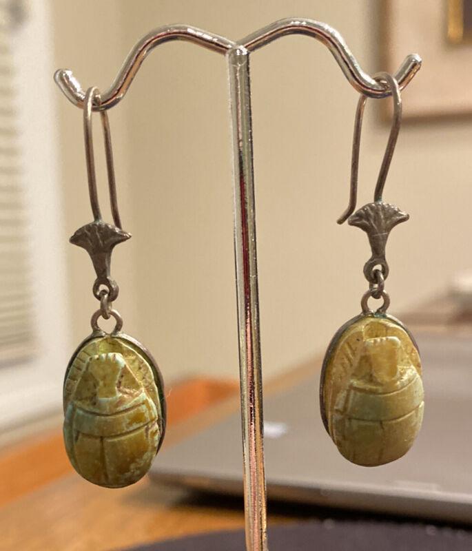 Antique Faience Scarab Beetle Earrings