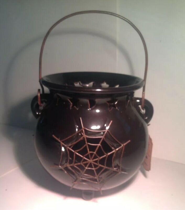Halloween Ceramic Witch Cauldron Candle Holder Moon Stars Spider Web High Detail