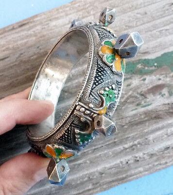 (B) Antique Silver Knobby Bracelet Enamel Niello ~ Morocco Berber