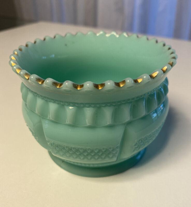 Vintage Aqua Milk Glass Cut Bowl W Gold Accenting