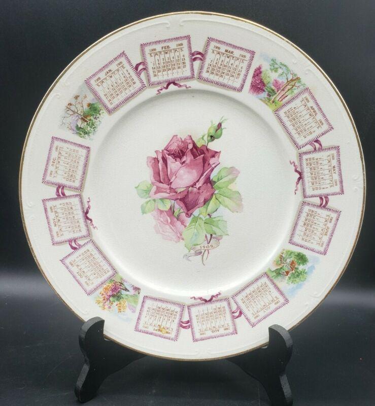"Antique 1909 Victorian Calendar Souvenir 9.5"" Plate Pink Roses"