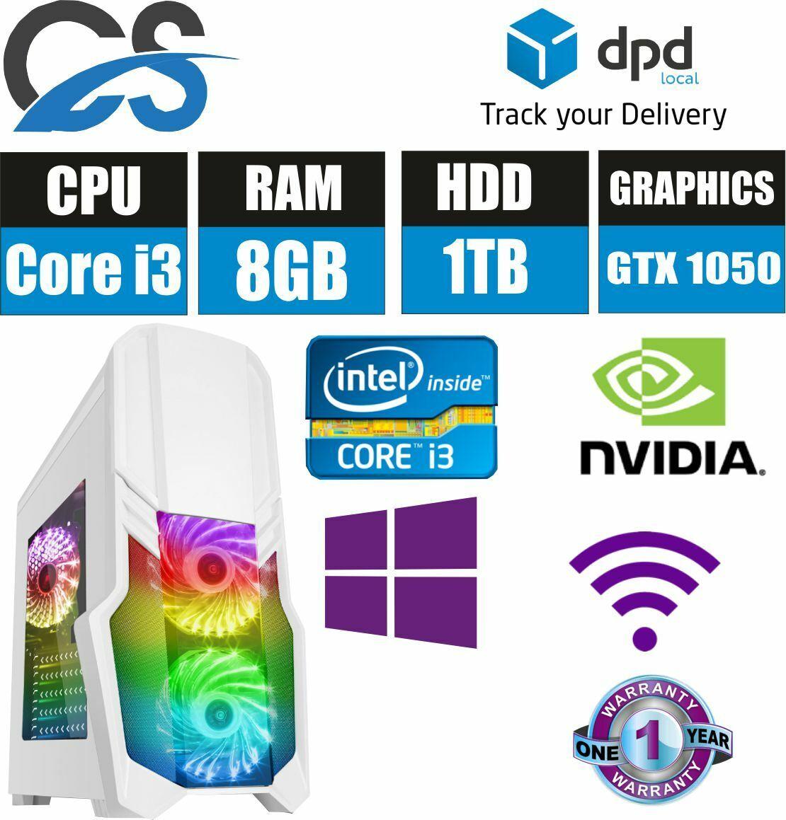 Computer Games - Gaming Computer  Desktop PC Core i3 3.10GHz 8GB RAM 1TB HDD GTX1050 Win10
