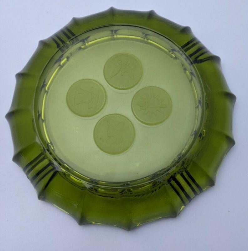 "Vintage Fostoria Olive Green Coin Glass Ashtray 8"" Heavy Glass Mid Century"