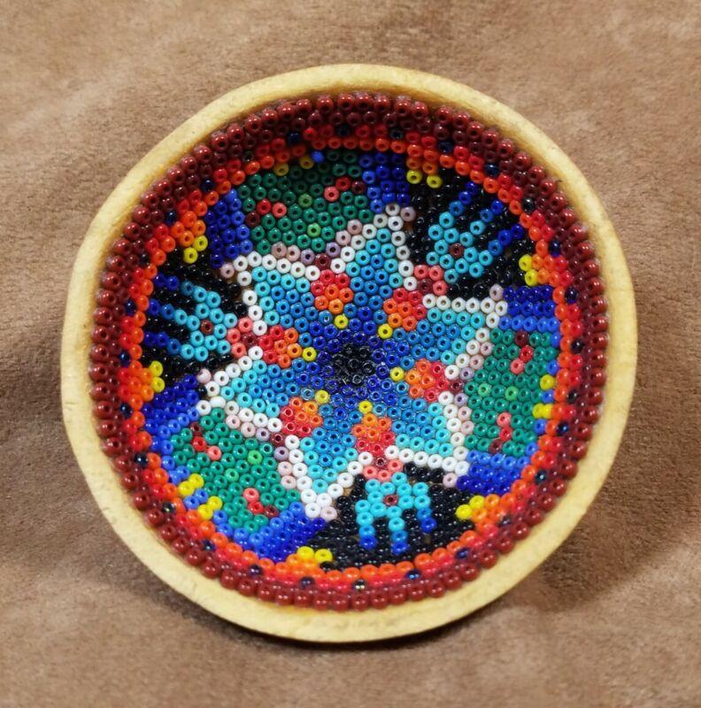 "Vintage Huichol Beaded Prayer Bowl Gourd 2 5/8"""