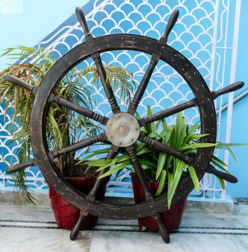 """48"""" Vintage Premium Antique Rustic Style Shabby Textured Ship Wheel Pirates Gift"""