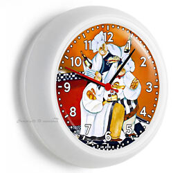 DRUNK FAT FRENCH CHEFS COOKS WALL CLOCK FOR KITCHEN DINING BEDROOM TV ROOM DECOR
