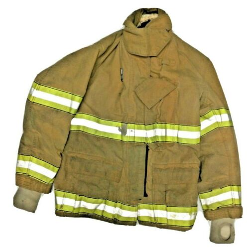 40x32 Globe Firefighter Brown Turnout Jacket Coat with Yellow Tape J907
