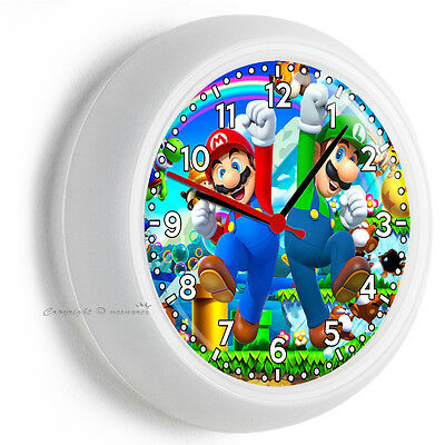 Mario And Luigi Decorations (SUPER MARIO AND LUIGI BROS WORLD WALL CLOCK TEEN BEDROOM TV GAME ROOM HOME)
