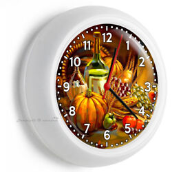 COUNTRY TABLE HARVEST WINE BOTTLES FALL LEAVES WALL CLOCK KITCHEN DINING DECOR