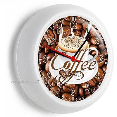 Cappuccino Kitchen Clock (DARK ROAST COFFEE BEANS CAPPUCCINO CUP TIME WALL CLOCK KITCHEN DINING ROOM)