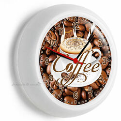 DARK ROAST COFFEE BEANS CAPPUCCINO CUP TIME WALL CLOCK KITCHEN DINING ROOM DECOR