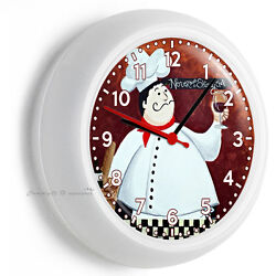 FAT FRENCH CHEF DRUNK WALL CLOCK FOR KITCHEN DINING BEDROOM TV ROOM DECORATION