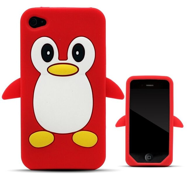 Red Penguin Silicone Case / Cover for Iphone 4 / 4S